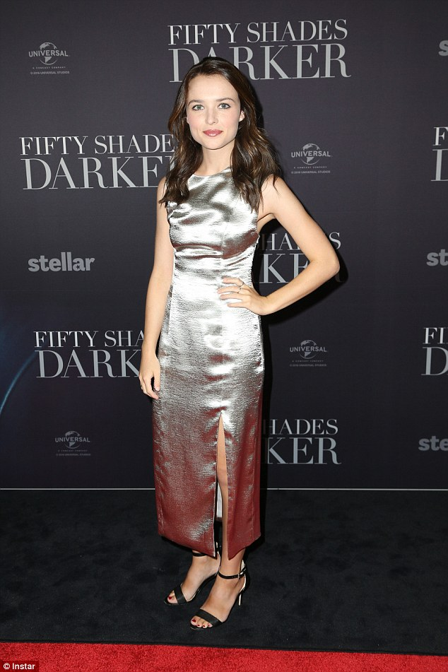 Striking in silver: Home And Away actress Philippa Northeast stood out in a metallic dress