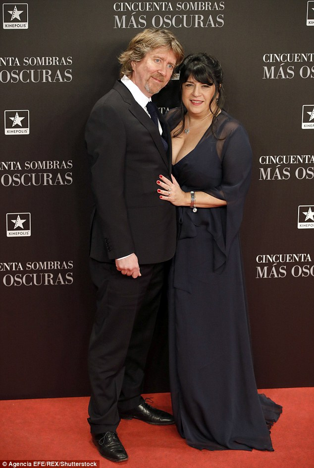 Sweet: E.L James put on a loving display with her husband Niall Leonard