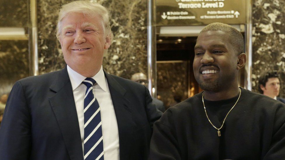 Donald Trump and Kanye West smiling