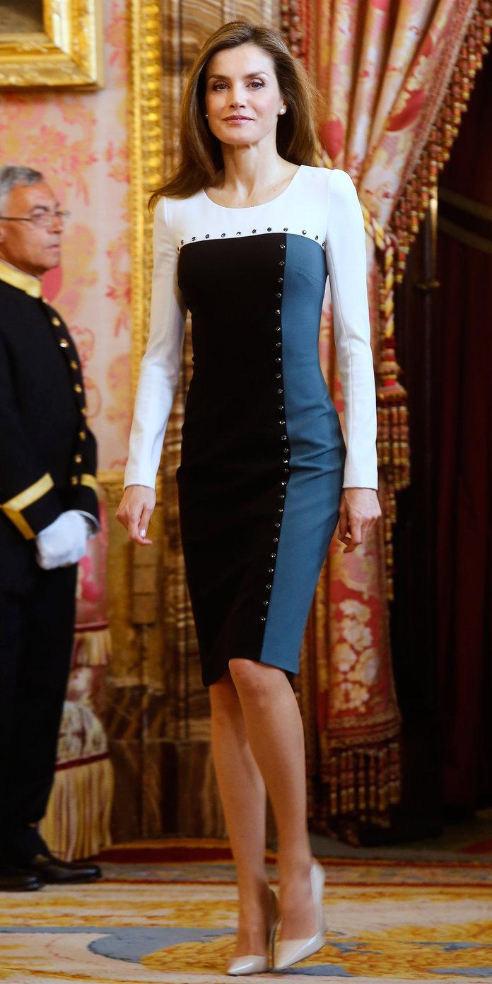 Queen Letizia in Black and White Dress